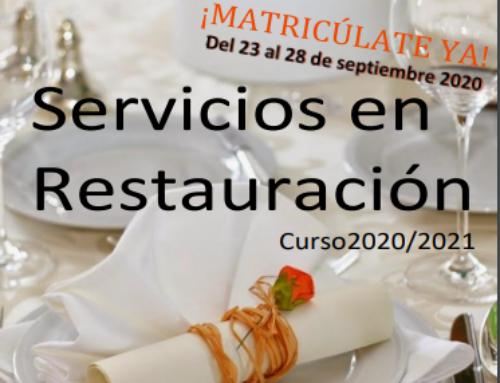 Ciclo de Servicios en restauración. Curso 2020-2021