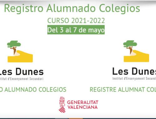Registro del alumnado de los colegios en el IES Les Dunes para el curso 21-22