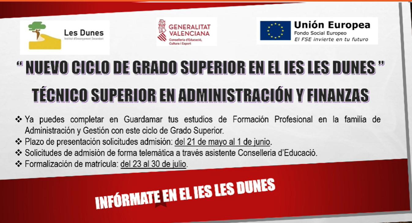 Nuevo ciclo de grado superior en el Ies Les Dunes: Técnico superior en administración y finanzas