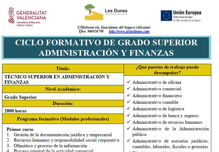 Ciclo formativo de grado superior en Administración y Finanzas