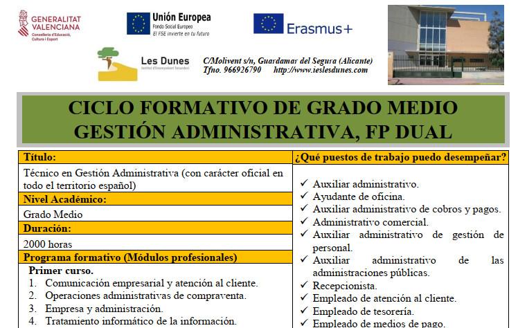 Ciclo formativo de grado medio en Gestión Administrativa, FP DUAL