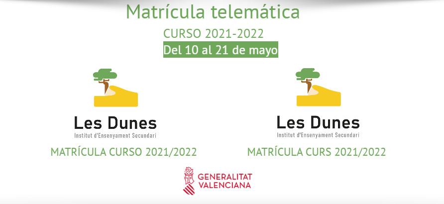 Matrícula telemática IES Les Dunes para el curso 21-22